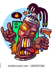 Hype street wear print for merch. Spray paint gangster with dreadlocks. vector print for clothes. Black lives matter. Print for t shirt. Tshirt design. Swag cartoon character hipster spray paint