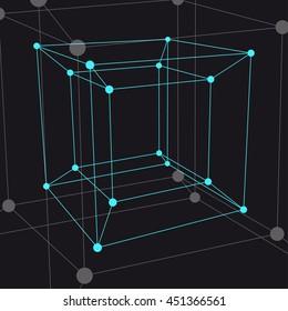 Hypercube 3D object. Vector Illustration