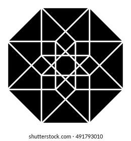 Hypercube in black, sacred geometry