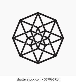 Hypercube, geometric element, black and white, vector illustration