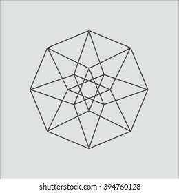 Hypercube. Minimal abstract symbol. Alchemy. Sacred geometry. Stock vector.