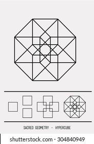 Hypercube. Sacred symbol. Alchemy. Grey background. Stock vector.
