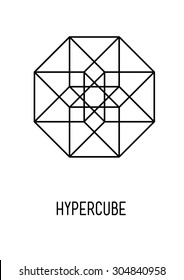 Hypercube. Sacred symbol. Alchemy. White background. Stock vector.