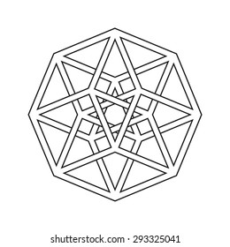 Hypercube, tesseract, geometric symbol, line design