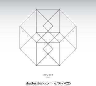 Hypercube vector icon. Sacred geometry.  Hypercube vector, line drawing design element