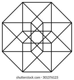 Hypercube vector, line drawing design element