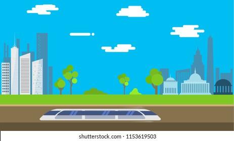 Hyperloop that go from New York to Washington in flat design. Vector illustration.