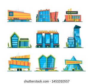 Hypermarket flat. Shopping building mall retail and distribution houses exterior of store vector collection. Illustration of hypermarket and supermarket, front exterior shop