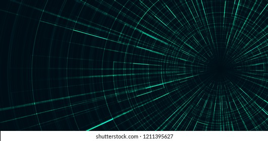 Hyperspace speed motion on Dark green background,warp and expanding movement concept,vector Illustration.