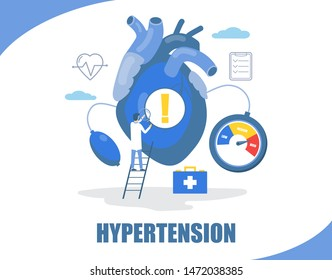 Hypertension concept vector flat style design illustration. Big heart and tiny character doctor measuring patient blood pressure using sphygmomanometer. HBP, high blood pressure treatment, prevention.