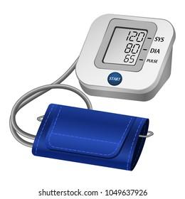 Hypertension digital tonometer mockup. Realistic illustration of hypertension digital tonometer vector mockup for web