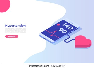 Hypertension disease isometric concept. Symptoms and prevention blood pressure health. Vector illustration