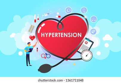 Hypertension patient treatment Concept. Blood pressure monitor. Complication of body and gender. Suitable For Wallpaper, Banner, Background, Card, Book, And Web LandingPage.Vector Illustration