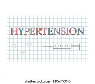hypertension word on checkered paper sheet- vector illustration
