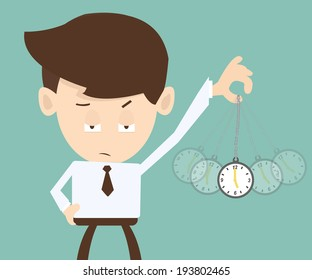 Hypnosis concept - Businessman hand holding a pocket watch and swinging