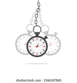 Hypnosis concept. Watch on a chain. Golden pocket watch. Pendulum swinging