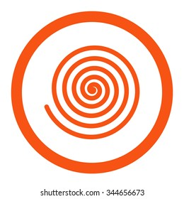 Hypnosis vector icon. Style is flat rounded symbol, orange color, rounded angles, white background.