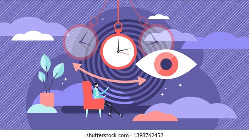 Hypnosis vector illustration. Flat tiny therapy condition persons concept. Altered state of mind or trance effect. Consciousness alternative medical condition. Abstract rotation and whirlpool symbols.