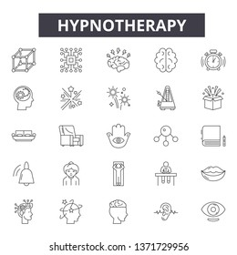 Hypnotherapy line icons, signs set, vector. Hypnotherapy outline concept, illustration: hypnotherapy,hypnosis,spiral,psychology,line