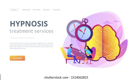 Hypnotherapy session, subconscious research. Psychiatrist assistance. Hypnosis practice, altered state of mind, hypnosis treatment services concept. Website homepage landing web page template.