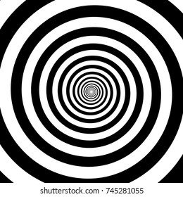 Hypnotic circles abstract vector optical illusion spiral swirl. Hypnotize circular pattern background of black and white rotating circles or psychedelic hypnosis lines in hypnotic motion.