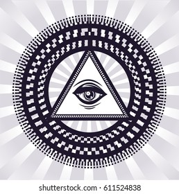 Hypnotic circles with sacred symbol. Sketch of tattoo. New world order. All seeing eye. Vector isolated illustration.