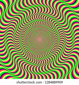 a hypnotic colorful background with an optical illusion of spinning. abstract vector illustration.