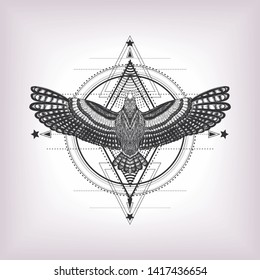 Hypnotic illustration. Black and white pattern. Sketch for print t shirt and tatoo art. Hand drawn detailed symbol of yoga. Geometric pattern with hand drawn flying bird. Ornamental composition.
