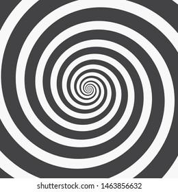 Hypnotic Spiral Background. Three Black Spirals on White or Vice Versa. Monochrome Vector Illustration