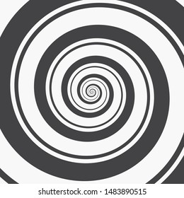Hypnotic Spiral Background. Two Black Spirals, Thin and Thick, Spinning in Parallel on a White Background. Monochrome Vector Illustration