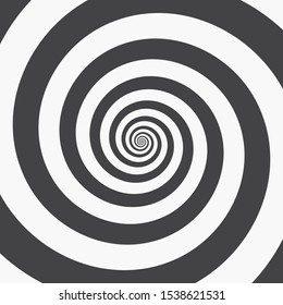Hypnotic Spiral Background. Two Black Spirals on a White. Monochrome Vector Illustration