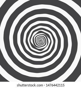 Hypnotic Spiral Background. Two Thick Black Roughen Spirals. Monochrome Vector Illustration