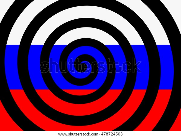 Hypnotic spiral and flag of russia as metaphor of russian propaganda - manipulation, disinformation and brainwashing