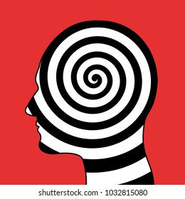 Hypnotic spiral in the head - hypnosis, psychosis, psychologic disorder, mental illness. Psychedelic and hallucinogenic consciousness of mind. Vector illustration