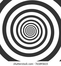 Hypnotic spiral. Psychedelic swirl, hypnosis twisted vortex vector background