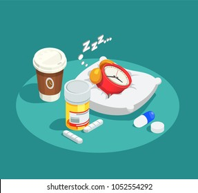 Hypnotics drugs isometric composition on turquoise background with alarm clock on white pillow, coffee, pills vector illustration