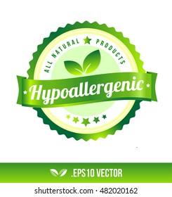 Hypoallergenic badge label seal stamp logo text design green leaf template vector eps