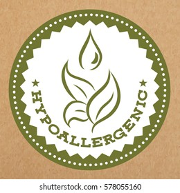 Hypoallergenic green label, badge with leaves and water drop for allergy safe products, isolated vector object