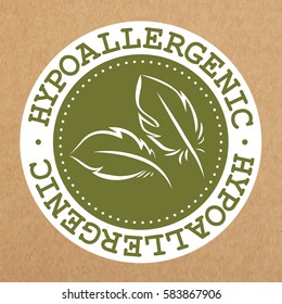 Hypoallergenic green label, badge with leaves for allergy safe products, isolated vector object