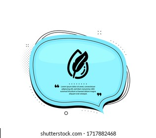 Hypoallergenic tested icon. Quote speech bubble. Feather sign. No synthetic symbol. Quotation marks. Classic hypoallergenic tested icon. Vector