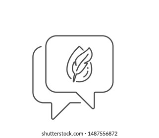 Hypoallergenic tested line icon. Chat bubble design. Feather sign. No synthetic symbol. Outline concept. Thin line hypoallergenic tested icon. Vector