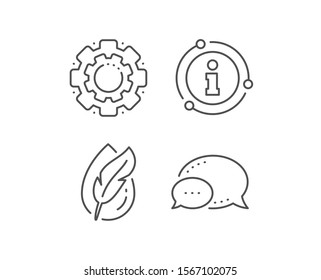 Hypoallergenic tested line icon. Chat bubble, info sign elements. Feather sign. No synthetic symbol. Linear hypoallergenic tested outline icon. Information bubble. Vector