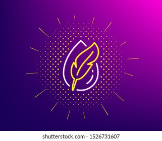 Hypoallergenic tested line icon. Halftone pattern. Feather sign. No synthetic symbol. Gradient background. Hypoallergenic tested line icon. Yellow halftone pattern. Vector