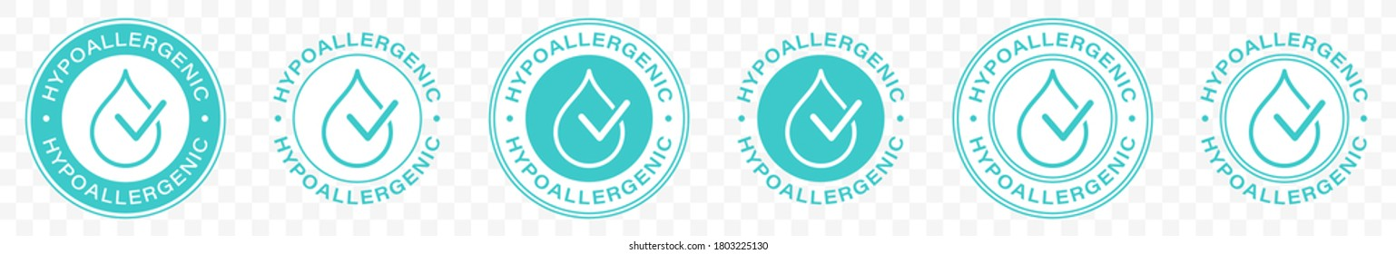 Hypoallergenic tested logo icon. Vector drop icon of hypoallergenic package label or dermatology test tag for sensitive skin of kid cosmetic lotion or other products. Vector illustration.