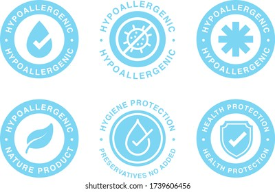 Hypoallergenic tested logo label. Vector badge of dermatology test tag for sensitive skin product package.