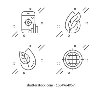 Hypoallergenic tested, Seo phone and Organic product line icons set. Seo internet sign. Feather, Search engine, Leaf. Globe. Business set. Line hypoallergenic tested outline icon. Vector