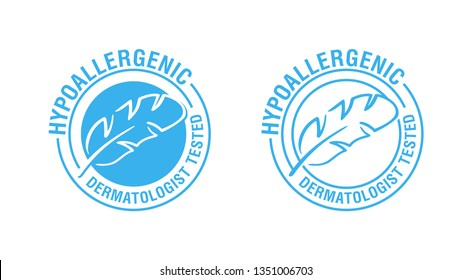 Hypoallergenic tested sign icon. Circular stamp shape with drawn feather - package warning label or dermatology test tag - flat vector sign
