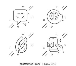 Hypoallergenic tested, Smile face and World globe line icons set. 24h service sign. Feather, Chat, Around the world. Call support. Technology set. Line hypoallergenic tested outline icon. Vector