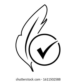 Hypoallergenic tested vector icon. Feather illustration sign. No synthetic symbol. Linear style hypoallergenic tested icon.