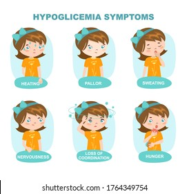 Hypoglycemia symptoms banner.  Low glucose level in blood. Weakness, pallor, sweating and hunger.  Isolated vector illustration in cartoon style. Little girl. Vector
